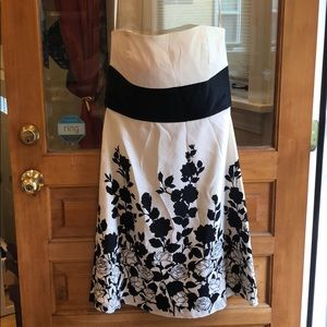 White and Black formal satin dress